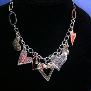 Jewelry - Silver and Copper tone  heart charm necklace