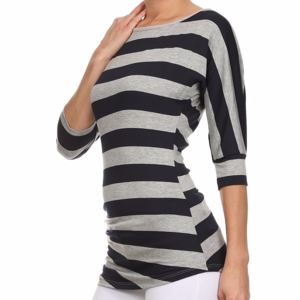 Black & Gray Stripe Ruched Top S