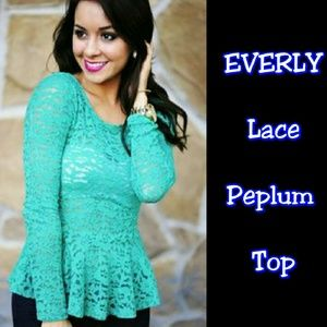 Everly Tops - 'EVERLY' Teal Green Lace Peplum Top