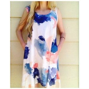 Alternative Apparel Dresses & Skirts - blue pink tie dye cotton flowy summer dress