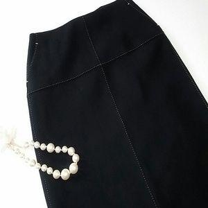 J.Crew Midi Pencil Skirt Sz 8 M Wool Blend Black