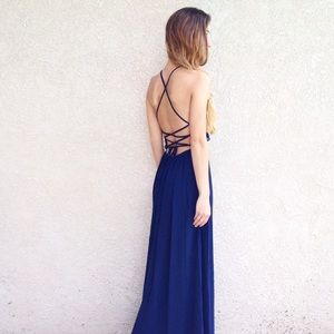 | new | open back maxi dress