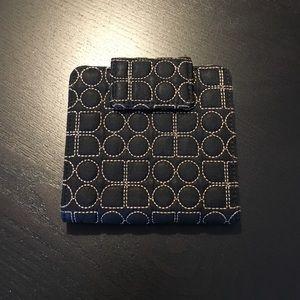 Kate Spade black fabric printed bifold wallet