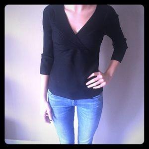 Black Three Quarter Length Sleeve Blouse