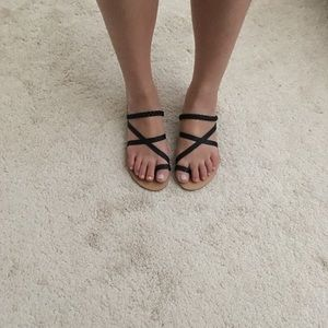 Forever 21 Shoes - Black Strappy Slides