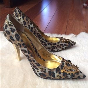 Baby Phat Shoes - Baby Phat Leopard Gold Metal Heels Size 7.5