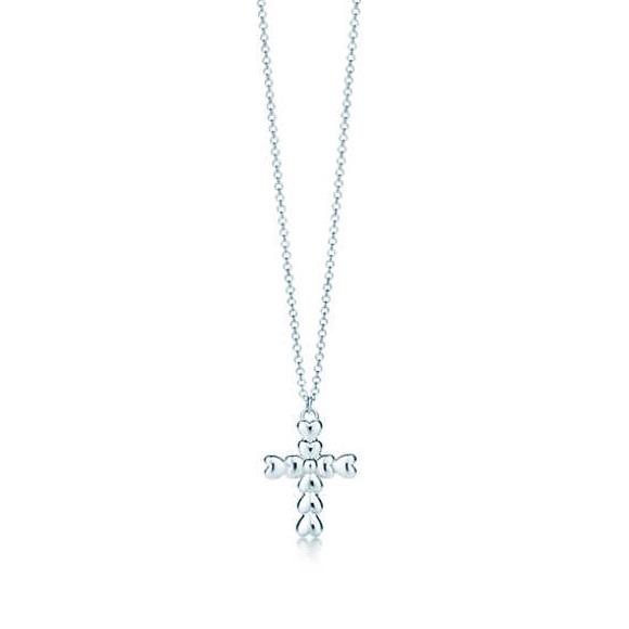 6da7fbcf28bef Authentic Tiffany crown of hearts cross pendant