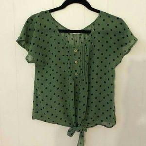Green polka dot tie top