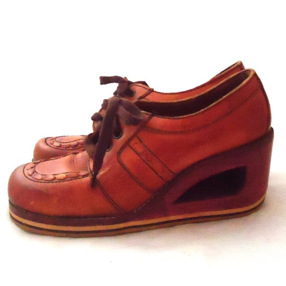 Vintage - 70s Leather Clogs Platform Wedge Shoes Cut Out 8 From Julieu0026#39;s Closet On Poshmark