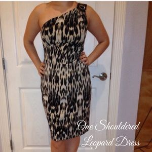Dresses & Skirts - Women's Sz 12 One Shouldered Leopard Pencil Dress