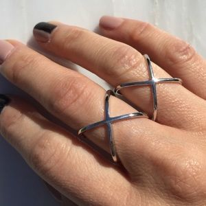 "Muse Refined Jewelry - Criss Cross ""X"" White Gold Sterling Silver Ring"