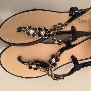 New jeweled jelly thong sandals SZ 10