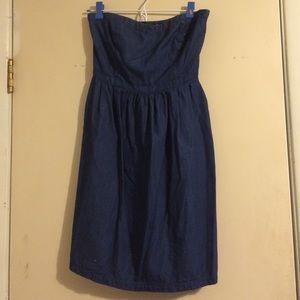 Chambray strapless dress