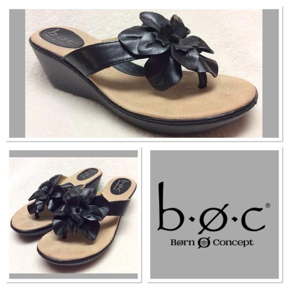 b4d586b9dacb Born Shoes - 🆕 B.O.C. black flower leather sandals size 7