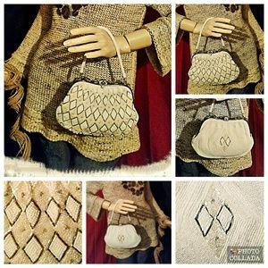 Delill Handbags - Vintage Delill Hand Beaded White & Tan Handbag