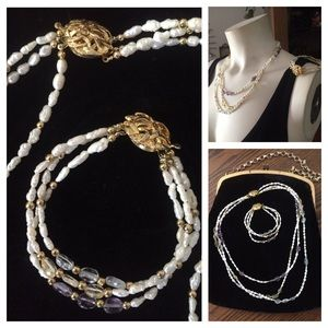 Freshwater Pearl 3-Strand Necklace & Bracelet Set