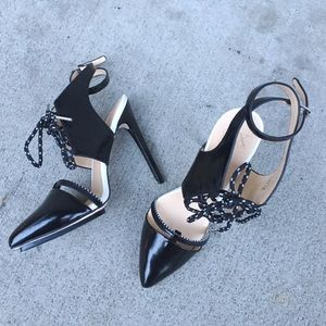Lace up pointy toe pumps