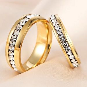 Gold Plated Stainless Steel Unisex Engagement Ring