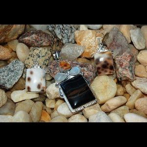 Tiger Eye,Biwa,Moonstone Statement Pendant 2 3/4""
