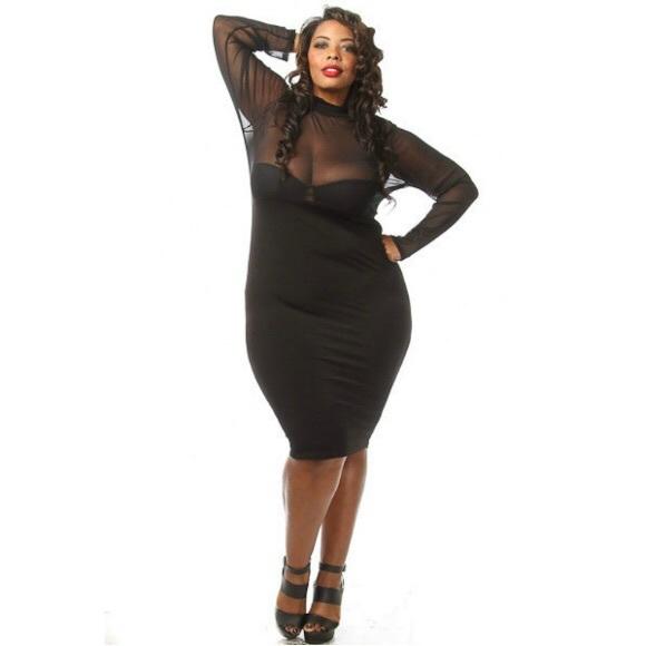 Plus Size Long Sleeve Mesh Top Bodycon Midi Dress