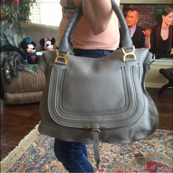 0cfbb5d7 Chloé Marcie Large Leather Satchel Grey
