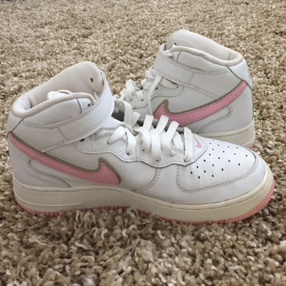 Nike Shoes Pink And White High Top Air Force 1 Poshmark