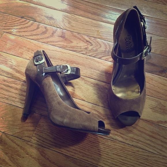 96e58b0d1cf Franco Sarto Shoes - Franco Sarto brown suede peep toe heels size 6