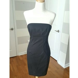 Express Black Strapless Fitted Dress