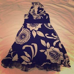 Dresses & Skirts - DONATED Black Halter Dress w/ White Floral Print!