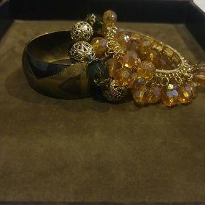 Bundle of olive and gold bracelets