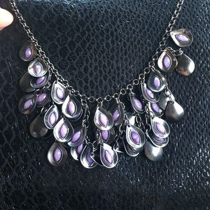 Gunmetal and purple fashion necklace