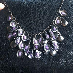 Gunmetal and purple fashion necklace