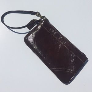SALE!Dark brown patent leather Coach wristlet