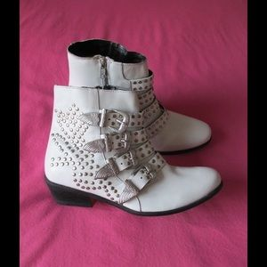 Ecote Shoes - Real Leather!! Fancy White Studded Ankle Booties