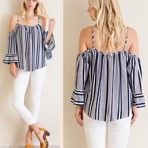 Pink Peplum Boutique Tops - Navy striped cold shoulder shirt  top