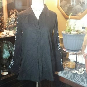 Black Casual Pull Over Med Embroidered Sleeve