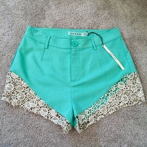 NWT LuLu's Mint Green Lacy Legs Shorts