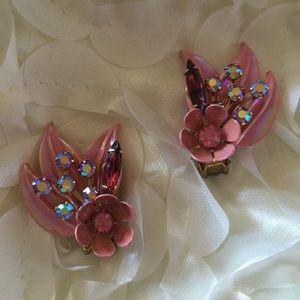 1950's Pink Rhinestone Earrings