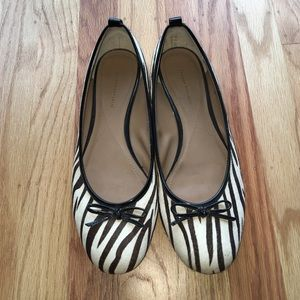 Zebra print ballet flats