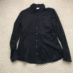 Black pleated button down