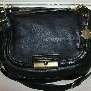 Coach Kristin Elevated Goat Black Leather Satchel