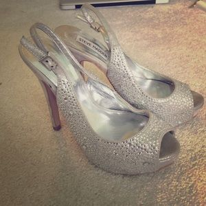 Silver bedazzled high heel platforms