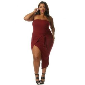 Head2Toez Apparel Dresses | Nwt Plus Size Tube Top Front Tie Bodycon ...