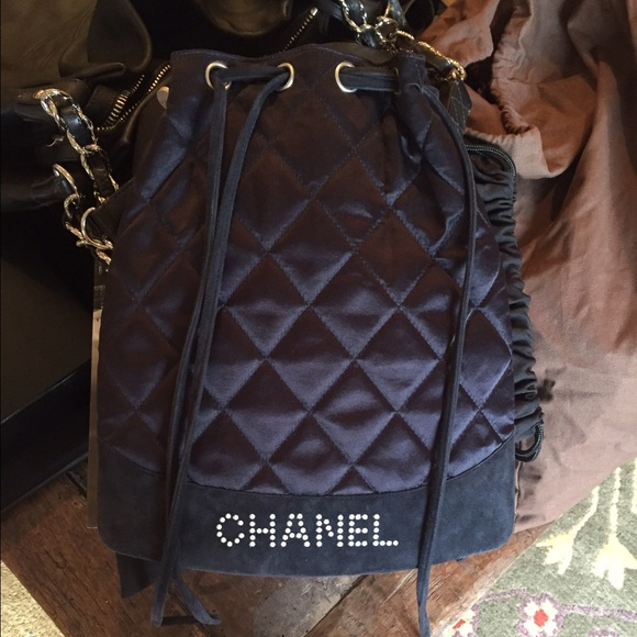 50% off CHANEL Handbags - Chanel Navy Quilted Drawstring Bag from ...