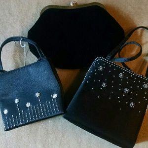 La Regale Handbags - 3-pack black formal purses