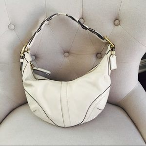 Coach Handbags - COACH Off-white Leather Braided Hobo