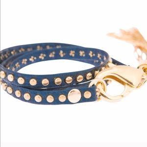 E.Kammeyer Accessories Jewelry - Navy & Gold Nailhead Wraparound Tassel Bracelet