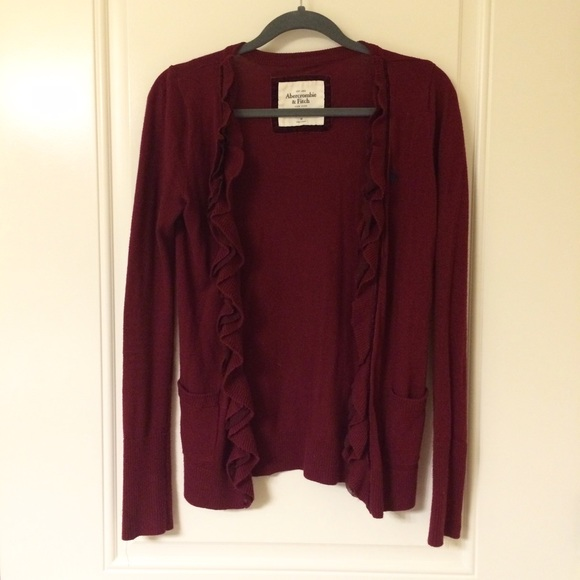 89% off Abercrombie & Fitch Sweaters - ️Wine Burgundy Red Ruffle ...