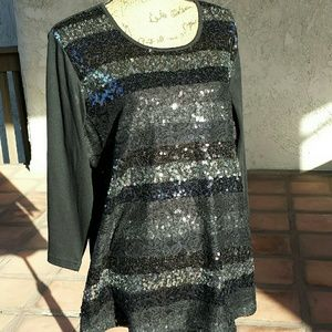 Quacker Factory Tops - 177)Black top with sequins & lace overlay - NWOT