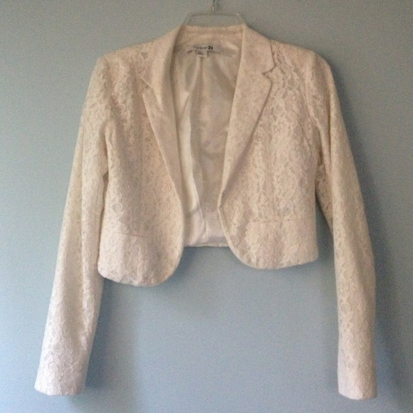 Forever 21 - Forever 21 laced cream short blazer w/pockets from